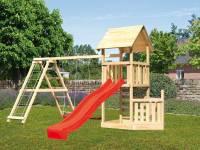 Akubi Spielturm Lotti + Schiffsanbau unten + Kletterwand + Doppelschaukel mit Klettergerüst + Rutsche in rot