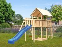 Akubi Spielturm Danny Satteldach + Rutsche blau + Einzelschaukel + Anbauplattform