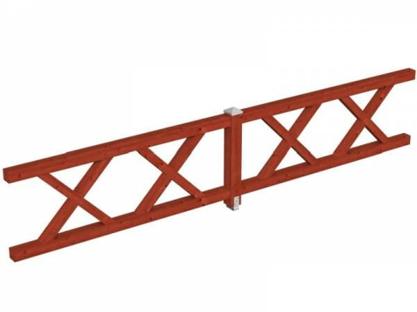 Skan Holz Brüstung für Pavillons 465 cm Andreaskreuz in mahagoni