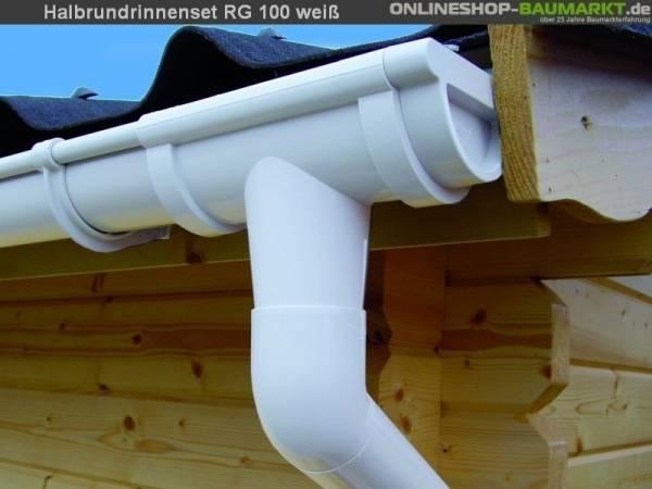 Dachrinnen Set RG 100 weiß 900 cm Carport