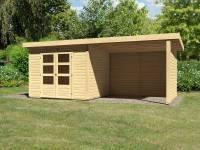 Karibu Woodfeeling Gartenhaus Kandern 6 mit Anbaudach 2,95 Meter inklusive Rück-und Seitenwand