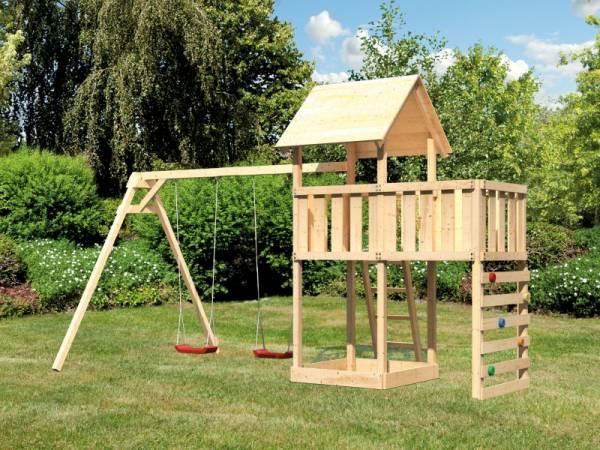 Akubi Spielturm Lotti Satteldach + Doppelschaukel + Anbauplattform + Kletterwand