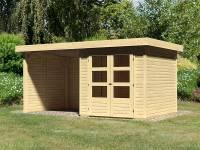 Karibu Woodfeeling Gartenhaus Askola 2 mit Anbaudach 2,25 Meter, Seiten- und Rückwand