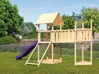Akubi Spielturm Lotti Satteldach + Schiffsanbau oben + Anbauplattform XL + Netzrampe + Rutsche in violett