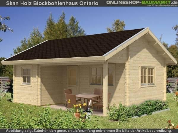 Skan Holz Blockbohlenhaus Ontario, Dach dämmbar für Dachschindeln, 70plus, 600 x 500 cm