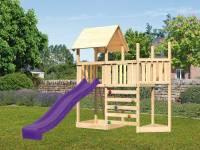 Akubi Spielturm Lotti Satteldach + Schiffsanbau oben + Anbauplattform + Kletterwand + Rutsche in violett