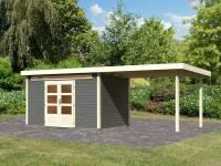 Karibu Woodfeeling Gartenhaus Kandern 7 in terragrau mit Anbaudach 3,20 Meter