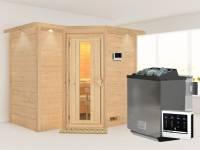 Karibu Sauna Sahib 2 inkl. 9-kW-Bioofen mit externer Steuerung, mit Dachkranz, mit energiesparender Saunatür