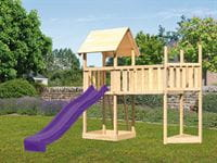 Akubi Spielturm Lotti Satteldach + Schiffsanbau oben + Anbauplattform XL + Rutsche in violett