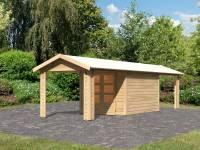Karibu Woodfeeling Gartenhaus Tastrup 4 mit 2 Anbaudächern je 2,40 Meter breite