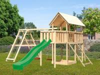 Akubi Spielturm Danny Satteldach + Rutsche grün + Doppelschaukelanbau Klettergerüst + Anbauplattform + Netzrampe
