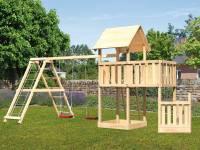 Akubi Spielturm Lotti + Schiffsanbau unten + Anbauplattform + Doppelschaukel mit Klettergerüst