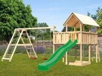 Akubi Spielturm Danny Satteldach + Rutsch grün + Doppelschaukelanbau Klettergerüst