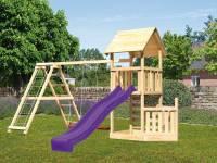 Akubi Spielturm Lotti + Schiffsanbau unten + Kletterwand + Doppelschaukel mit Klettergerüst + Rutsche in violett
