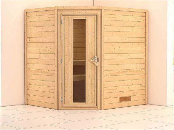 Karibu Sauna Mia 38 mm ohne Dachkranz- ohne Ofen- energiesparende Tür