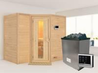 Karibu Sauna Sahib 2 inkl. 9-kW-Ofen mit externer Steuerung, ohne Dachkranz, mit energiesparender Saunatür