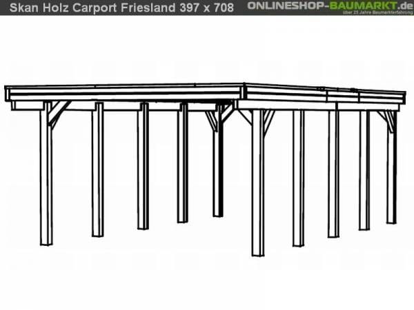 Skan Holz Carport Friesland 397 x 708 cm
