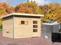 Karibu Aktionssaunahaus Erik 2 38 mm mit 9 kW Ofen ext. Strg. naturbelassen