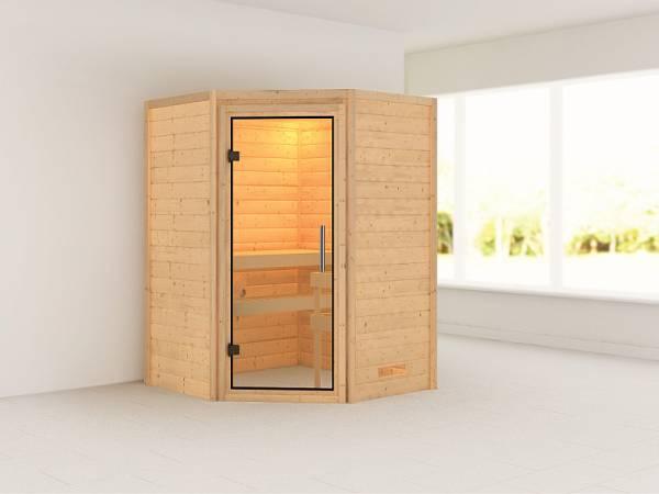 Karibu Sauna Franka 38 mm ohne Dachkranz- ohne Ofen- klarglas Tür