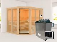 Karibu Sauna Ainur mit 9 kW Ofen Ext. Strg 68 mm