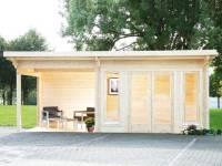 Wolff Finnhaus Pultdachhaus Trondheim 70-D XL mit Lounge links