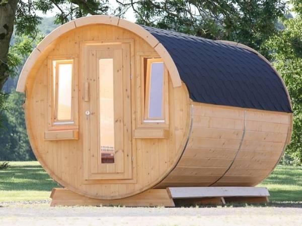 Wolff Finnhaus Campingfass 393, 2-Raum montiert mit schwarzen Dachschindeln