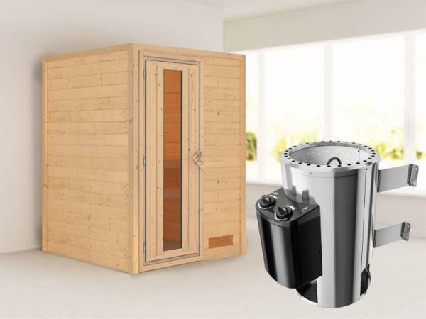 Nadja - Karibu Sauna Plug & Play 3,6 kW Ofen, int. Steuerung - ohne Dachkranz - Energiespartür