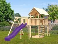 Akubi Spielturm Danny Satteldach + Rutsche violett + Doppelschaukel + Anbauplattform XL + Kletterwand