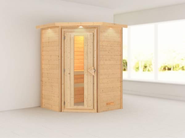 Alicja - Karibu Sauna Plug & Play ohne Ofen - mit Dachkranz - Energiespartür