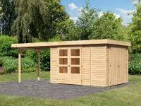Karibu Woodfeeling Gartenhaus Retola 4 mit Anbauschrank und Anbaudach 2,80 Meter