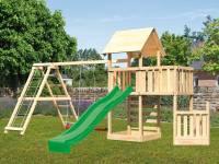Akubi Spielturm Lotti + Schiffsanbau unten + Anbauplattform + Kletterwand + Doppelschaukel mit Klettergerüst + Rutsche grün