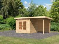 Karibu Woodfeeling Gartenhaus Kandern 3 mit Anbaudach 2,60 Meter inkl. Rückwand