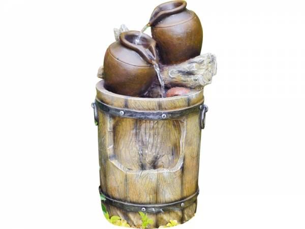 Granimex Barril Wasserspiel mit Regenfall - inkl. Pumpe und LED-Beleuchtung