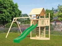 Akubi Spielturm Lotti Satteldach + Schiffsanbau oben + Doppelschaukel + Kletterwand + Rutsche in grün