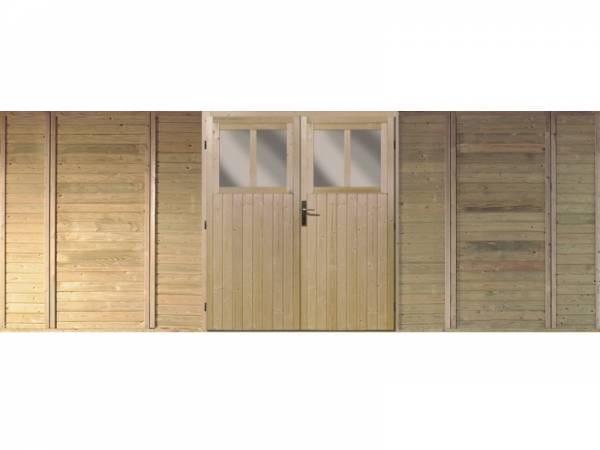 Karibu Frontwand mit Doppeltür für Doppelcarport