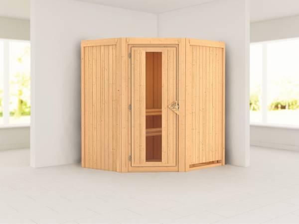 Karibu Sauna Taurin ohne Ofen, ohne Dachkranz, mit energiesparender Saunatür