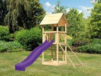 Akubi Spielturm Lotti mit Netzrampe und Rutsche violett