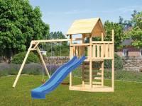 Akubi Spielturm Lotti Satteldach + Schiffsanbau oben + Doppelschaukel + Kletterwand + Rutsche in blau