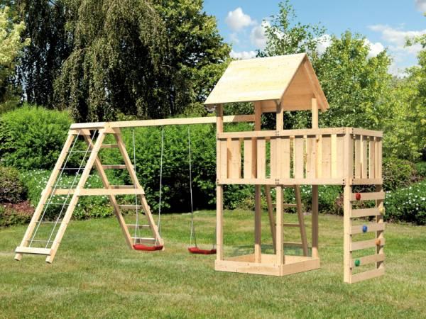 Akubi Spielturm Lotti Satteldach + Doppelschaukelanbau Klettergerüst + Anbauplattform + Kletterwand
