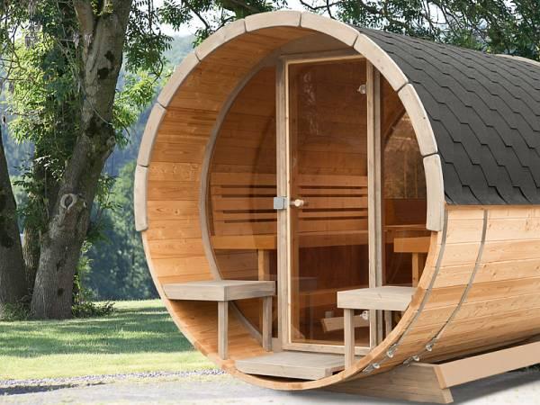 Wolff Finnhaus Aufpreis Glasfront für Saunafass montiert 205 cm Durchmesser