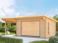 Wolff Gartenhaus Trondheim 70-D XL mit Schiebetür und Seitendach 200 cm Links