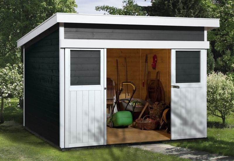 Super Weka Gartenhaus 225 Größe 1 anthrazit - schönes 21 mm Pultdach HW58