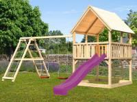 Akubi Spielturm Luis mit Doppelschaukel inkl. Klettergerüst und Rutsche in violett