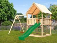Akubi Spielturm Luis Satteldach + Rutsche grün + Einzelschaukel
