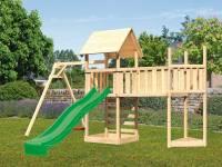 Akubi Spielturm Lotti Satteldach + Schiffsanbau oben + Einzelschaukel + Anbauplattform XL + Kletterwand + Rutsche in grün