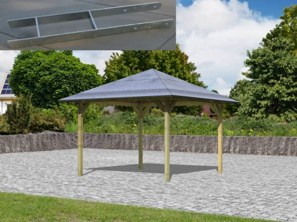 Karibu Aktions 4-Eck Pavillon Parzello KDI inkl. H-Pfostenanker