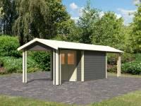 Karibu Gartenhaus Espelo 4 in terragrau mit zwei Dachausbauelementen 2,70 m