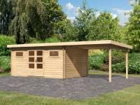 Karibu Gartenhaus Bastrup 10 inkl. Fußboden und Anbaudach 3 m