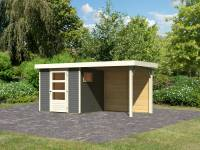 Karibu Woodfeeling Gartenhaus Oburg 2 terragrau mit Anbaudach 2,4 Meter inkl. Rückwand