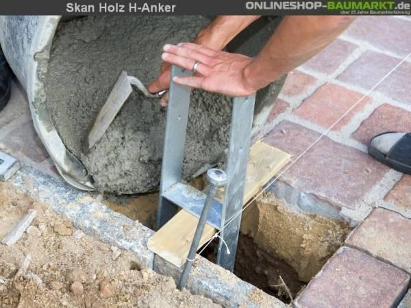 Skan Holz H-Pfostenanker 9 x 9 x 60 cm